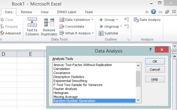 Excel's Data Analysis dialog