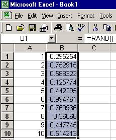 Make a parallel list of RAND formulas